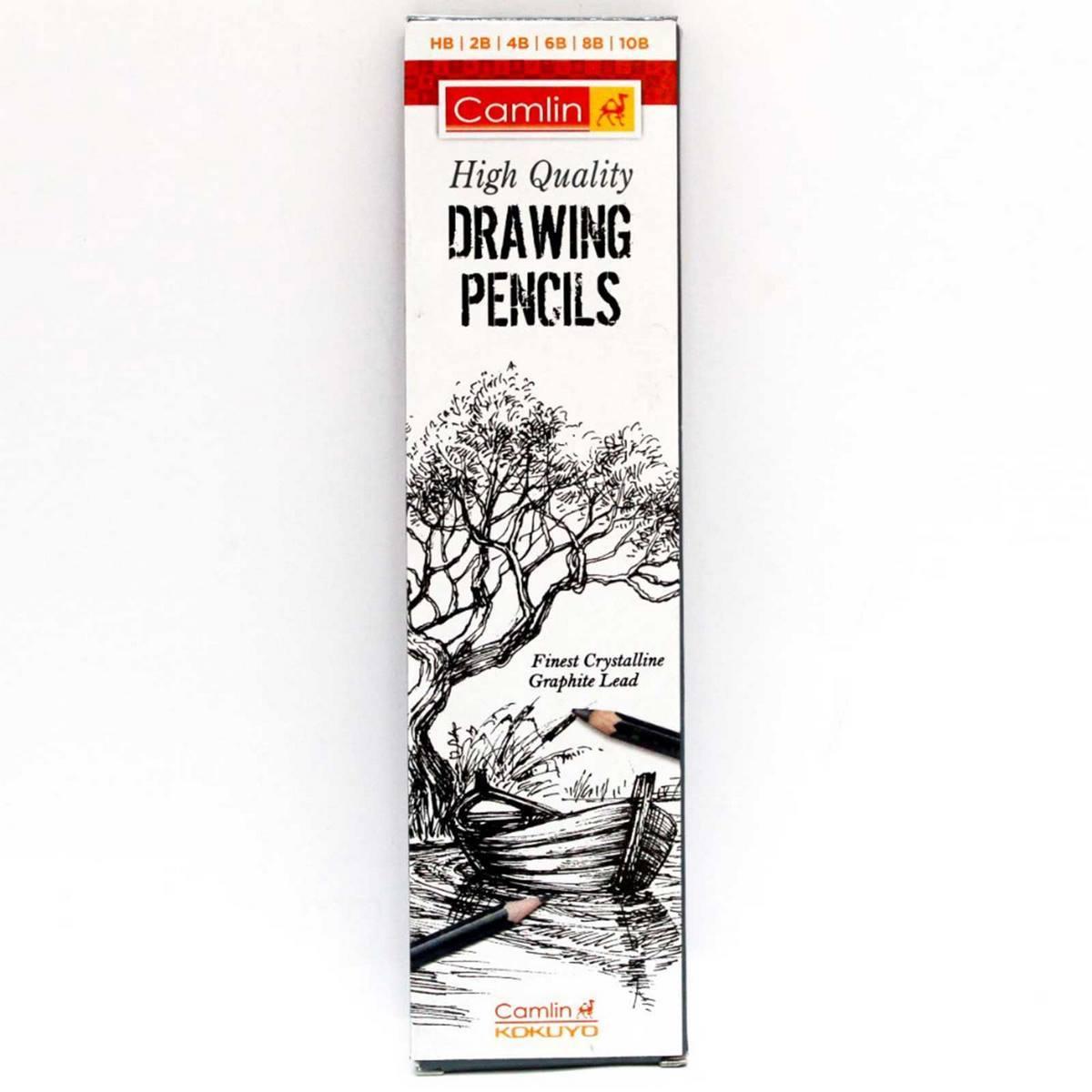 Camlin Drawing Pencils (HB, 2B, 4B, 6B, 8B, 10B) Black 7000953