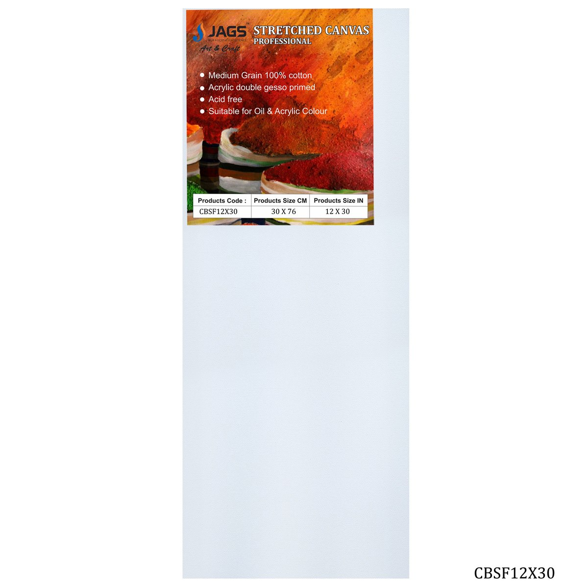 Stretched Canvas Board (12X30 Inch)
