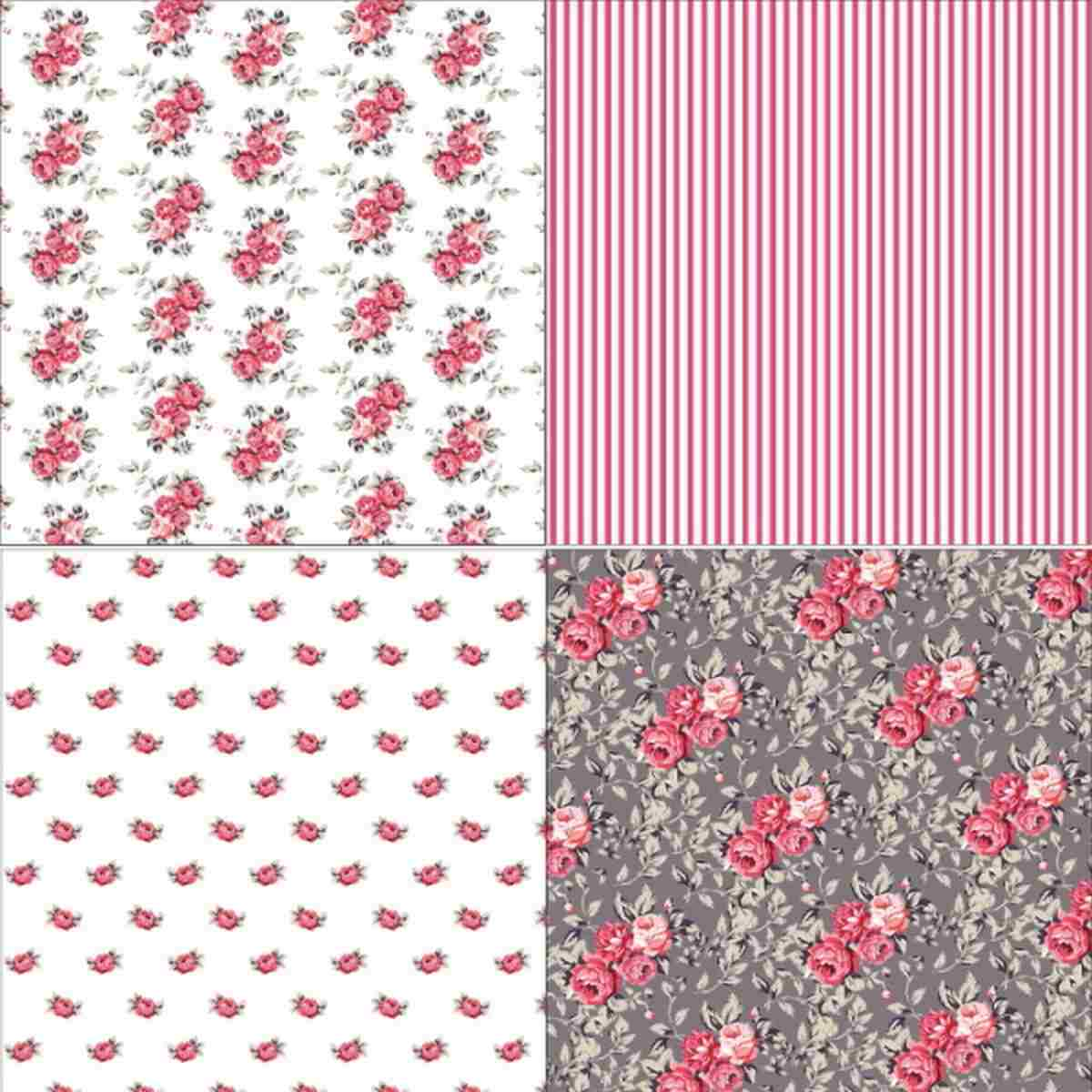 Jags Grey Blooming 6x6 Inch Printed Paper For Crafts Pack Of 36 3 Sheets Each Of 12 Designs
