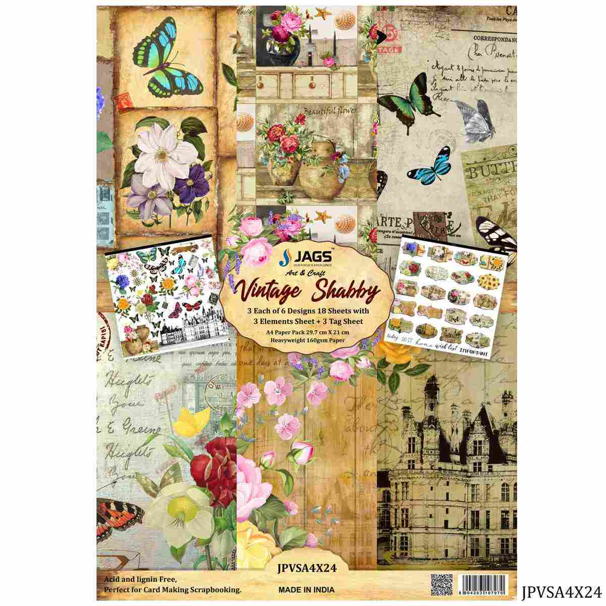 Vintage Shabby A4 Size Printed Paper