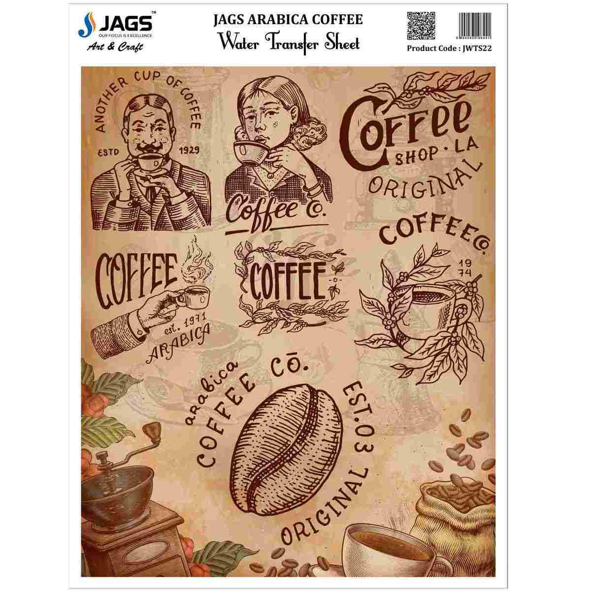 Water Transfer Sheet Arabica Coffee Design