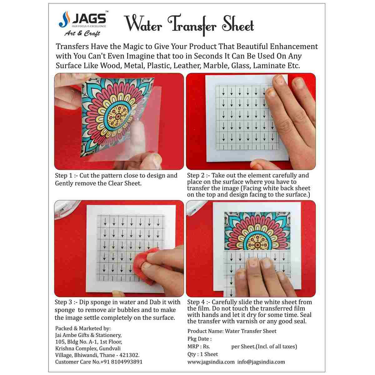 Water Transfer Sheet Modern Butterfly Design