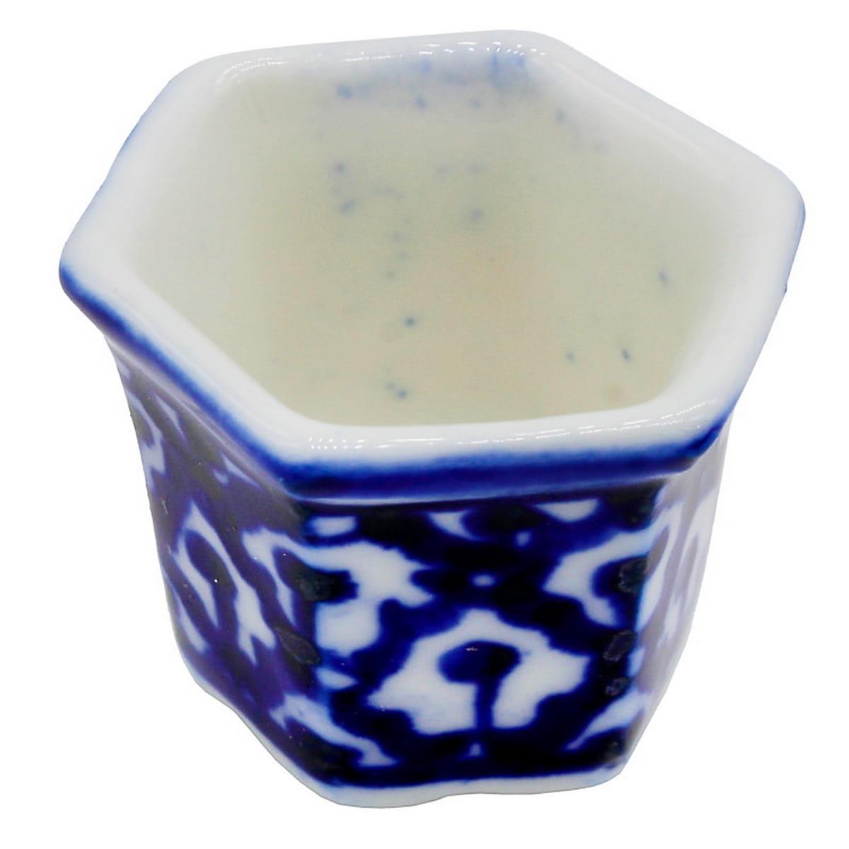 Miniature Ceramic Pot Hexagon Shape 2 Pcs (Blue)