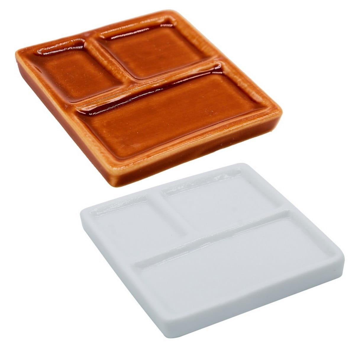 Miniature Ceramic 3in1 Plate Square Shape Brown