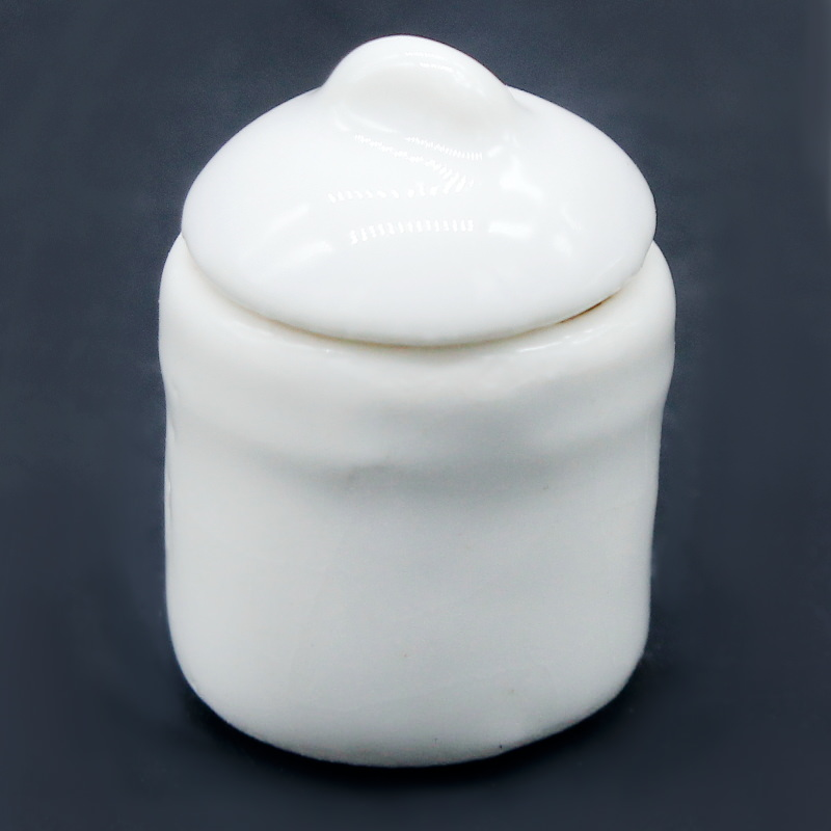Miniature Ceramic Jar Round Shape White