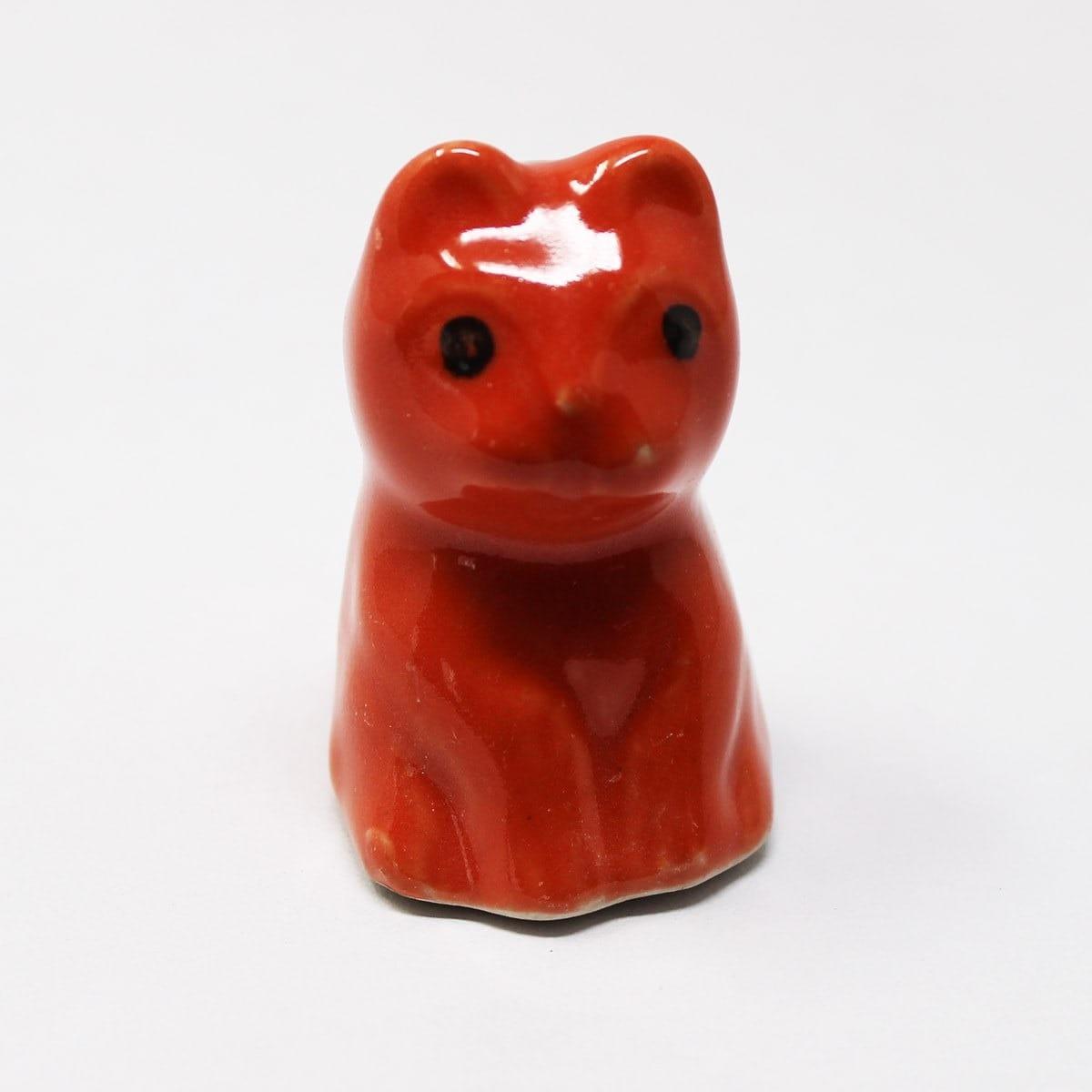 Miniature Ceramic Cat Red