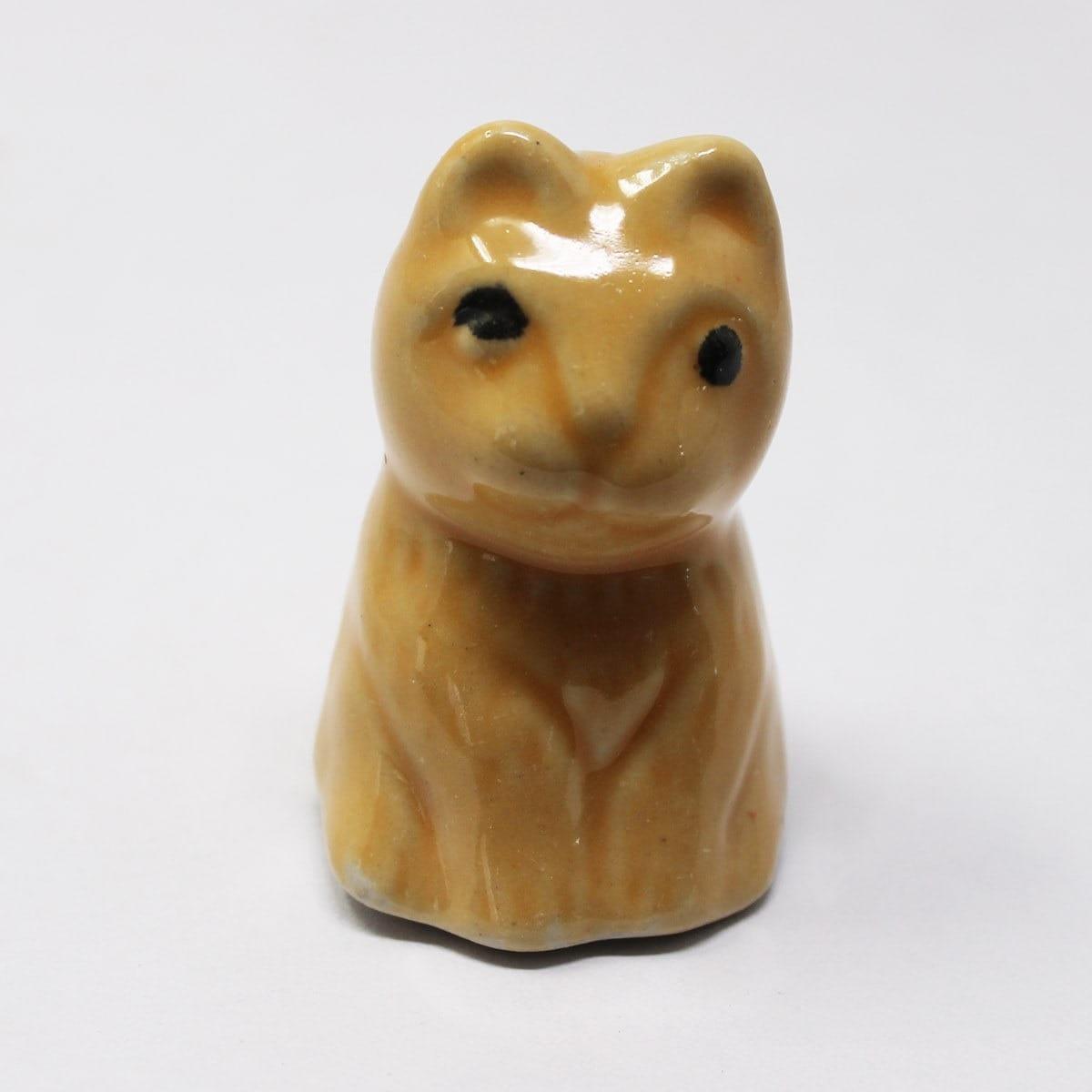 Miniature Ceramic Cat Yellow