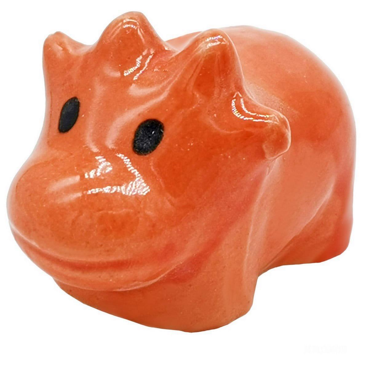 Miniature Ceramic Hippopotamus Orange