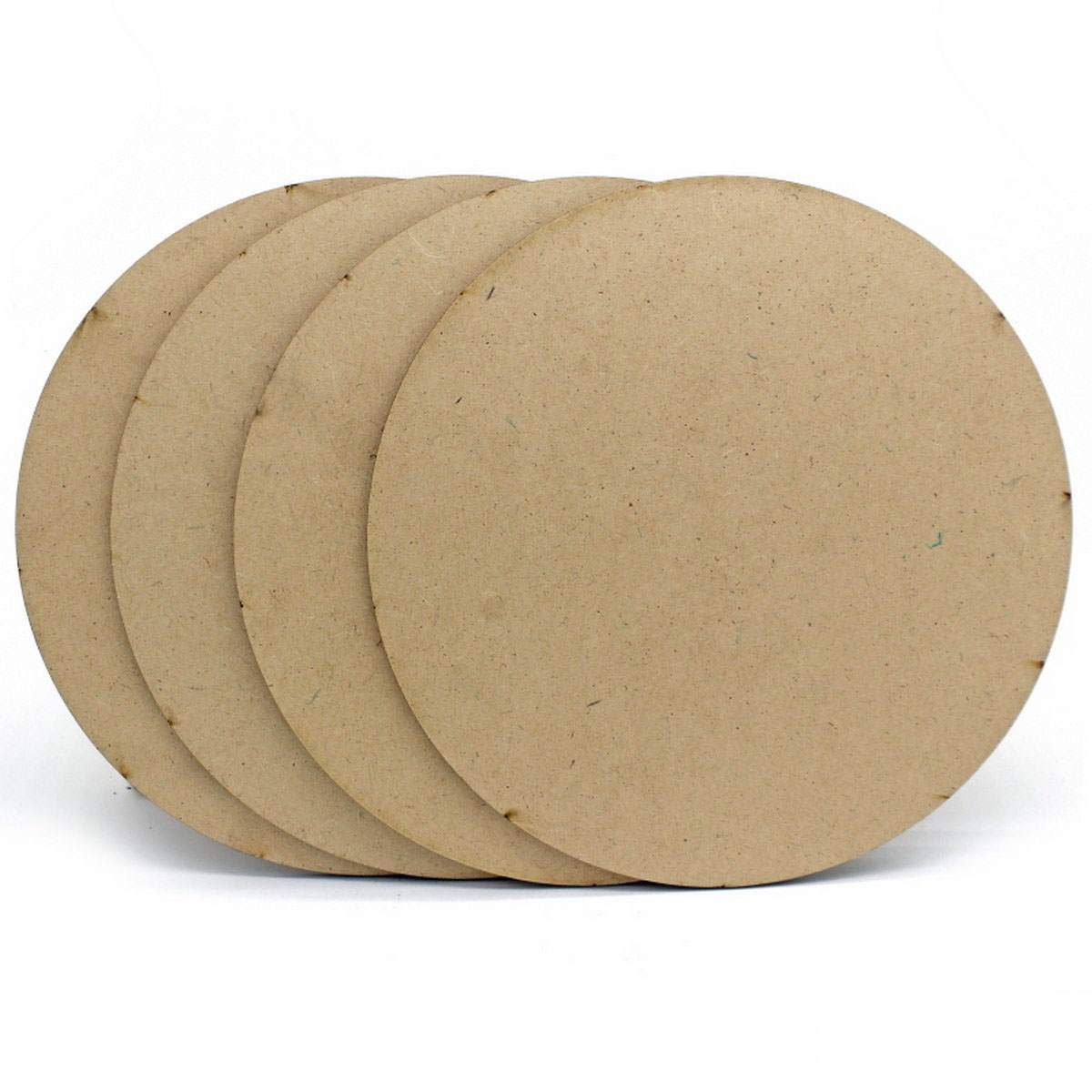 MDF Wooden Plate Round Shape (Pack of 4) (8x8 Inch) (4MM Thick)