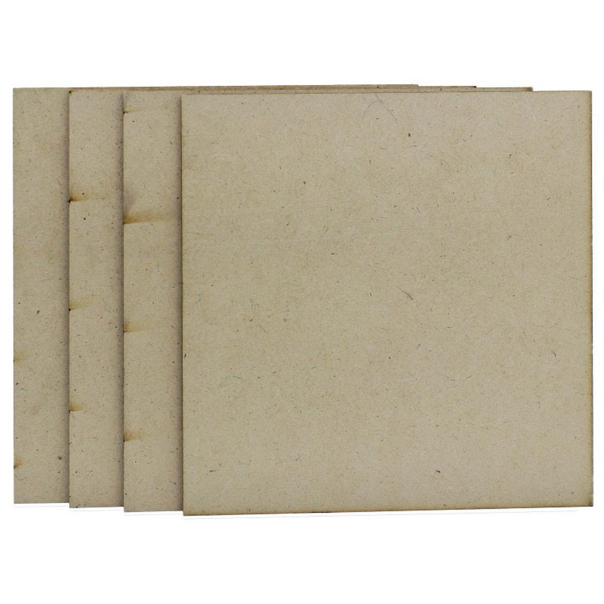MDF Wooden Plate Square Shape (Pack of 4) (6x6 Inch) (4MM Thick)