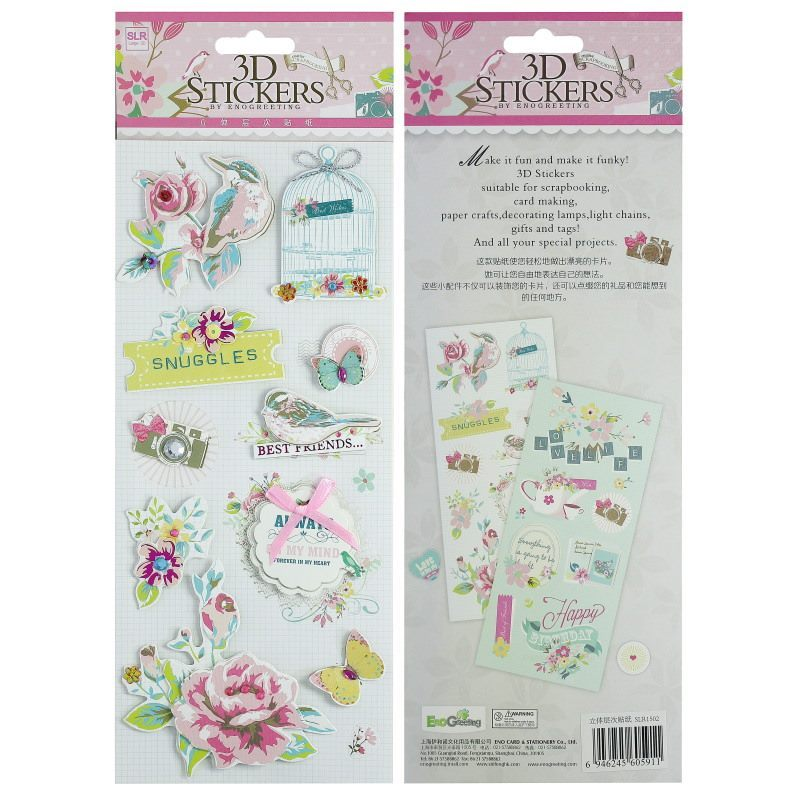 3D Stickers Vintage Flower & Bird Design