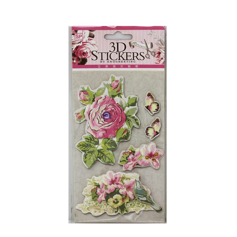 3D Stickers Vintage Flower Design