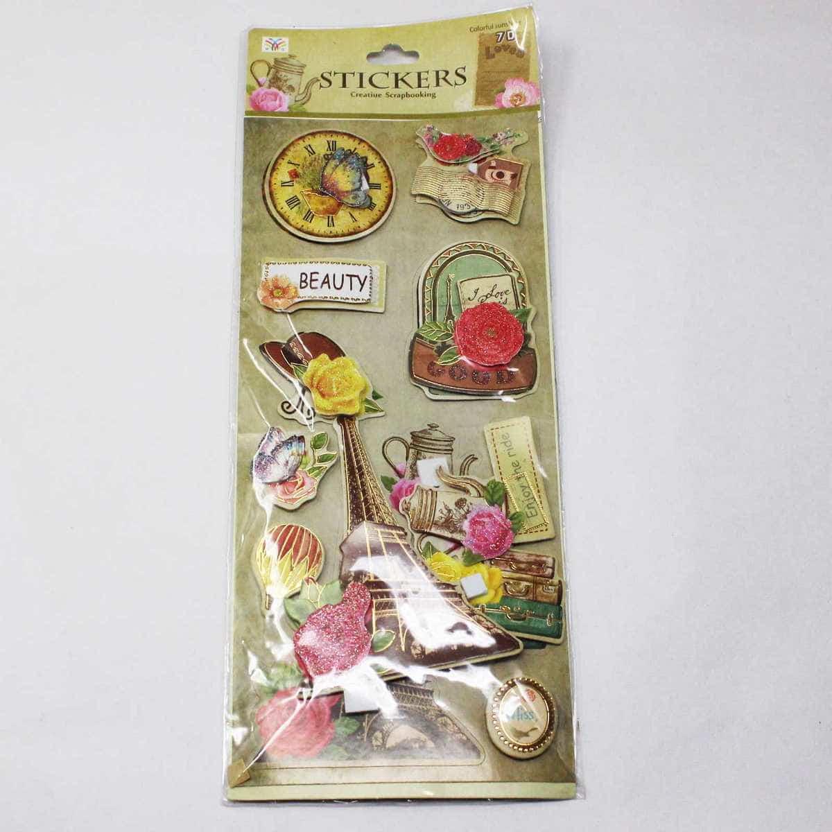 3D Stickers Vintage Flower Design