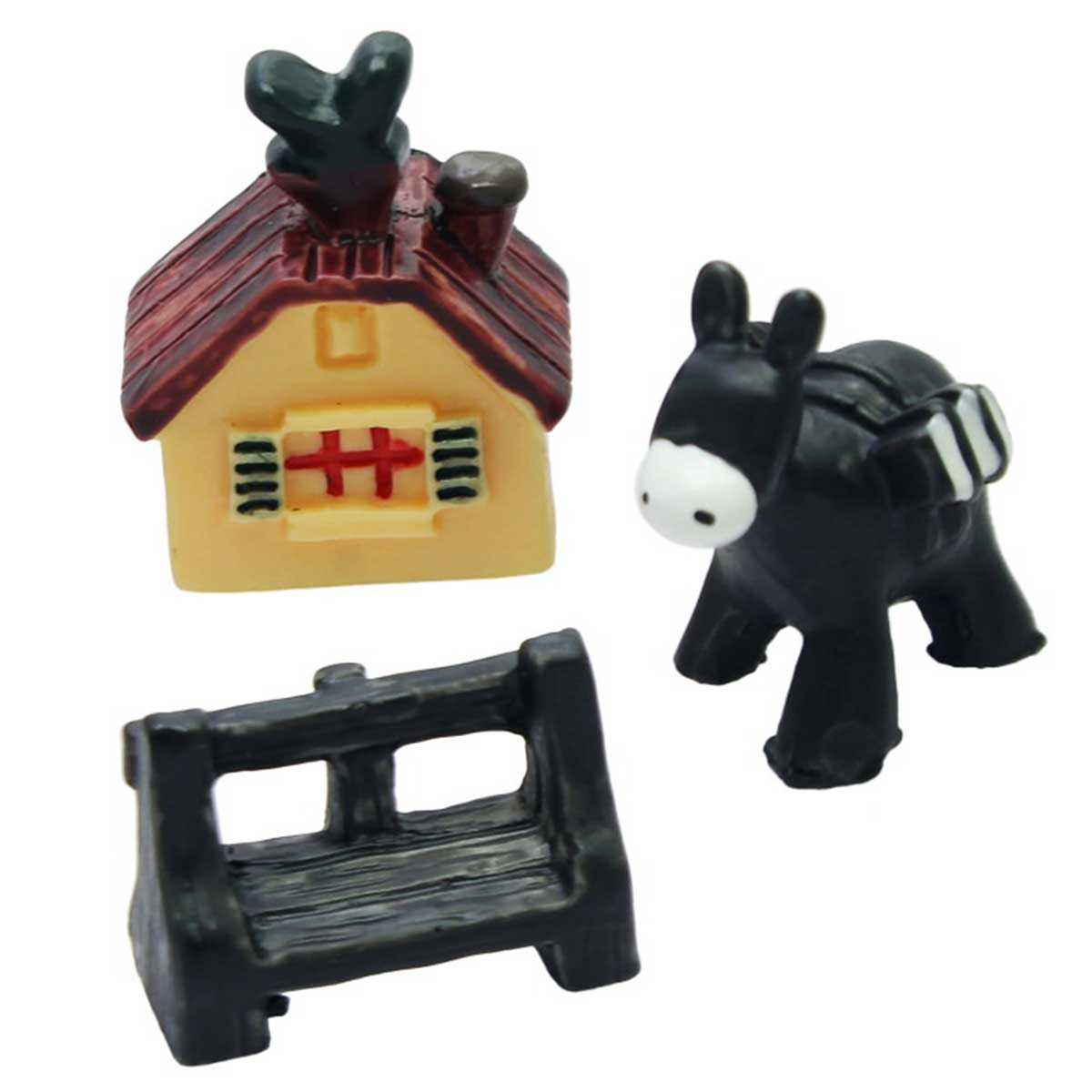 Miniature House Donkey And Bench Set