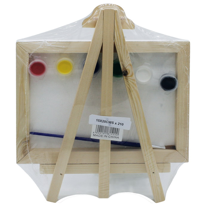 Mini Stretched Canvas With Easel (8x12 Inch) With 6 Paints and 1 Brush